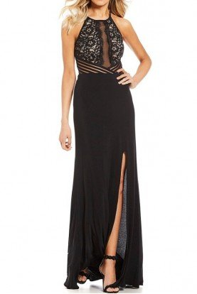 Blondie Nites Illusion Inset Lace Bodice Long Dress Juniors