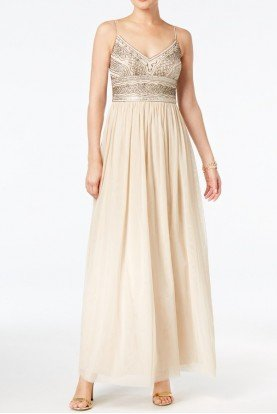 Beaded Gown Bridesmaid Ball Beige Almond