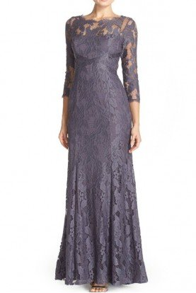 Illusion Yoke Lace Gown Gray Silver Long Sleeve