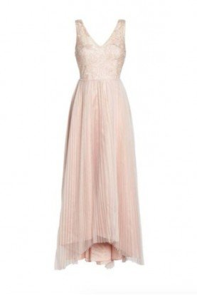 Sequin Pleated Tulle High Low Gown  Blush