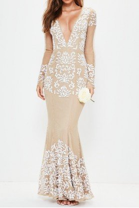 Beaded Embellished Deep V plunge Gown Nude Dress