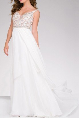 Ivory Beaded Chiffon Gown 48813 Prom Dress