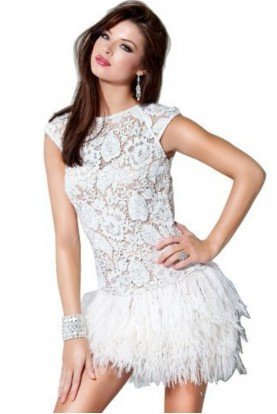 FEATHER LACE WHITE COCKTAIL PARTY DRESS 171924