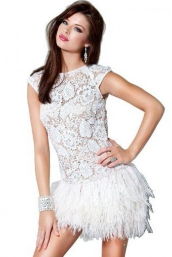 Jovani FEATHER LACE WHITE COCKTAIL PARTY DRESS 171924