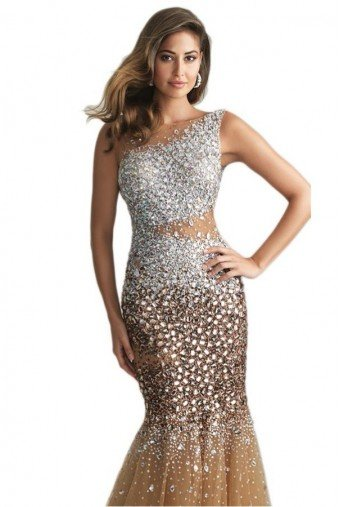 Blush Prom Tan Bronze Stone Encrusted Sparkly Gown Prom Dress