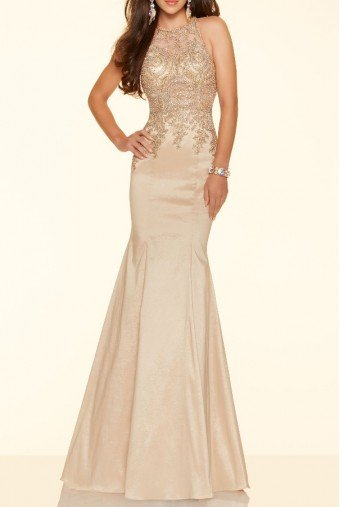 Mori Lee Sleeveless Halter Lace Champagne Gold Gown 98035