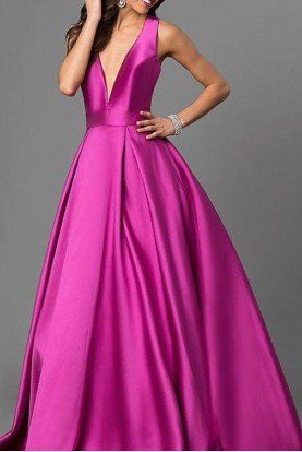 Deep V Neck Plunging Purple Ball Gown