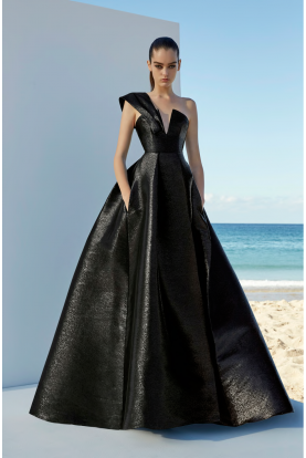 Asymmetrical Black One Shoulder Blaine Ball Gown