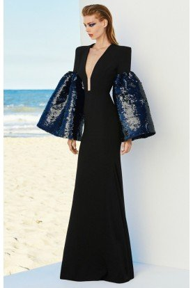 Veronica Satin Crepe Sequin Sleeve Gown