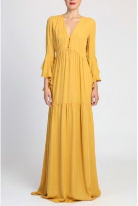 Badgley Mischka Yellow Three Quarter Sleeve Maxi Silk Dress