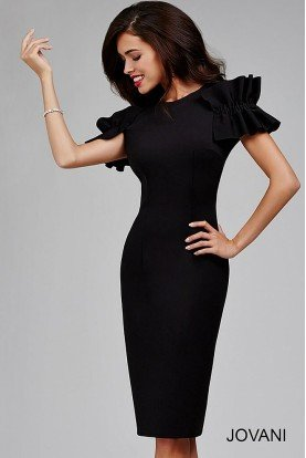 Black Sheath Dress with Open Back 27344