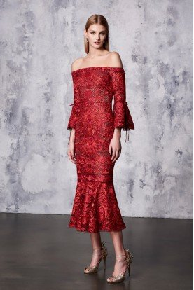 Marchesa Notte Red Off Shoulder Lace Midi Tea Dress