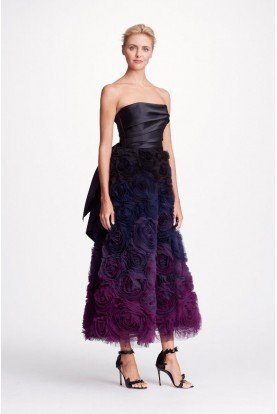ee150ebc43c Marchesa Notte Black Strapless Ombre Textured Midi Tea Gown Dress