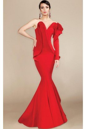 MNM Couture Red Structured Ruffle One Shoulder Trumpet Gown