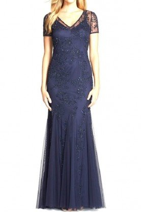 Short Sleeve Navy Evening Gown