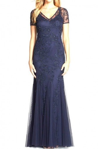 Adrianna Papell Short Sleeve Navy Evening Gown