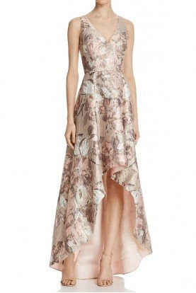 Sleeveless High-Low Floral Gown