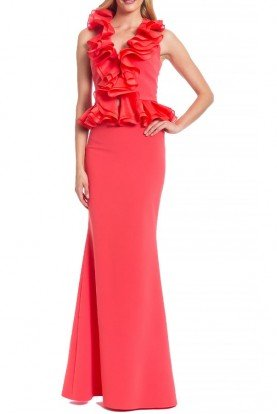 Coral Sleeveless Ruffled Evening Gown
