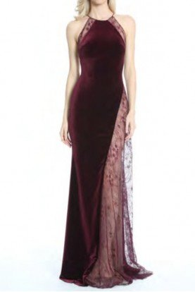 Burgundy Red Sleeveless Velvet Lace Evening Gown