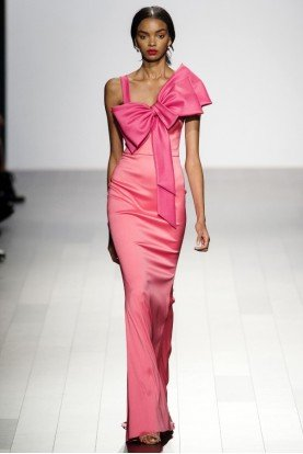 Badgley Mischka Pink Coral Sleeveless Two Tone Evening Gown