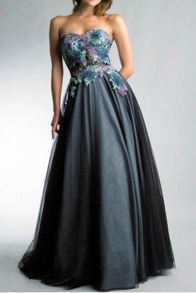 Strapless Ball Gown Applique Lace Bodice in Teal