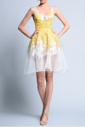 Sleeveless Lace Illusion Yellow White Party Dress