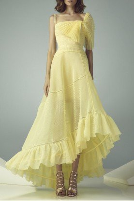 Yellow High Low Evening Gown