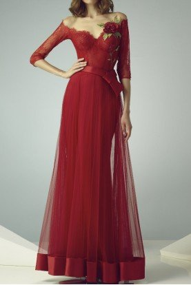 Red Off Shoulder Illusion Evening Gown