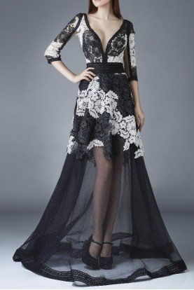 Sheer Quarter Sleeve Lace Embroidery Evening Gown