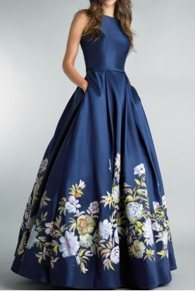 Hand Painted Floral Navy Blue Ball Gown