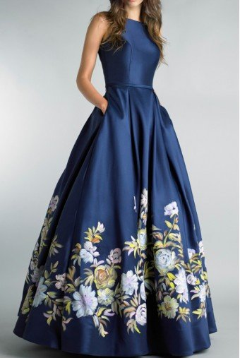 Basix Black Label Hand Painted Floral Navy Blue Ball Gown