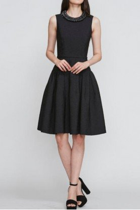 Sleeveless Textured Crepe Cocktail Dress