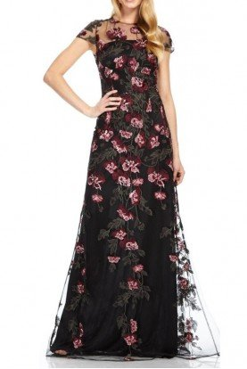 Short Sleeve Floral Evening Gown