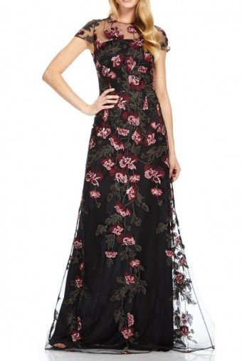 David Meister Short Sleeve Floral Evening Gown