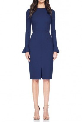 Navy Blue Long Sleeve Cocktail Dress