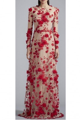 Long Sleeve Red 3D Floral Applique Evening Gown