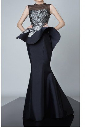Black Sleeveless Trumpet Gown