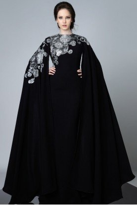 Divina by Edward Arsouni Black Cape Sleeve Evening Gown