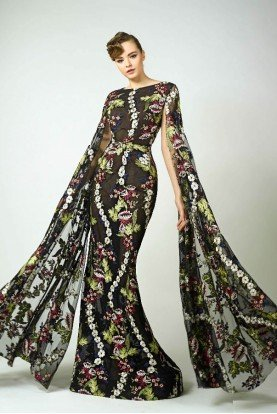 Black Floral Long Sleeve Evening Cape Gown