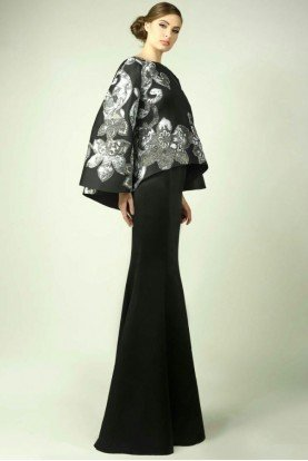 Black Floral Evening Gown
