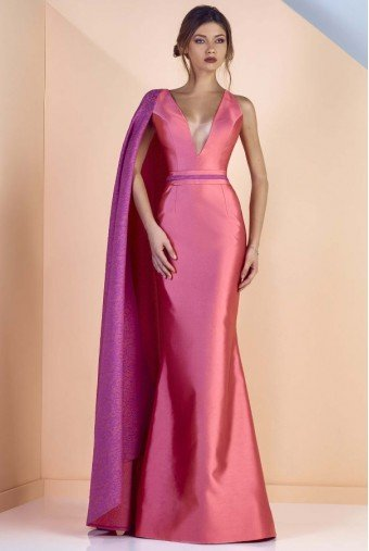 Divina by Edward Arsouni Sleeveless Mikado Cape Gown in Mauve