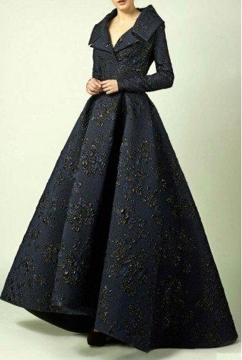 Divina by Edward Arsouni Long Sleeve A Line Navy Blue Ball Gown