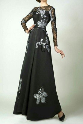 Black Long Sleeve Evening Gown