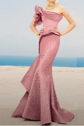Fouad Sarkis Couture One Shoulder Asymmetric Pink Mermaid Gown