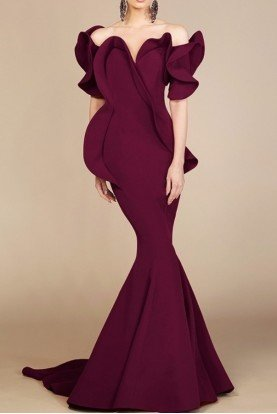 Fouad Sarkis Couture Off Shoulder Burgundy Mermaid Evening Gown 2328