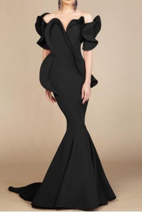 Fouad Sarkis Couture Black Geometrical Off Shoulder Evening Gown 2328