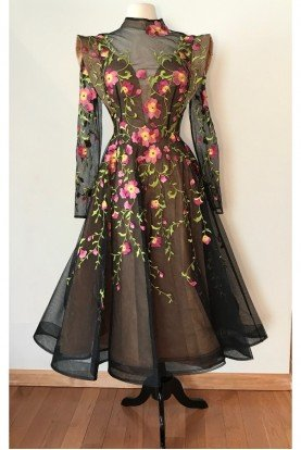 Couture Black Sheer Floral Applique Dress 2401A