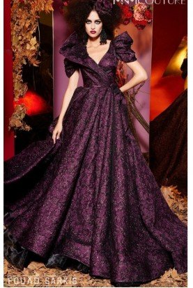 Couture Purple Short Sleeve Ball Gown