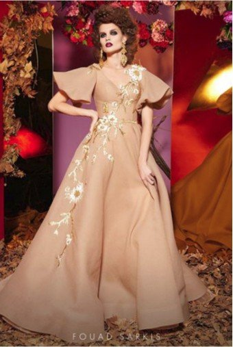 Fouad Sarkis Couture Couture Flutter Sleeve Nude Beige Ball Gown
