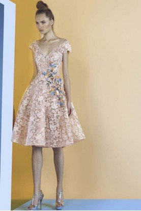 Peach Color V Neck Midi Fit Flare Lace Party Dress